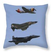 An F-15 Eagle, P-47 Thunderbolt Throw Pillow