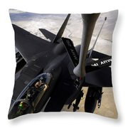An F-15e Strike Eagle Aircraft Receives Throw Pillow by Stocktrek Images