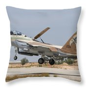 An F-15i Raam Taking Off From Hatzerim Throw Pillow