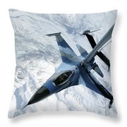 An F-16 Aggressor Sits In Contact Throw Pillow