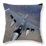 An F-16 Fighting Falcon Returns Throw Pillow