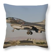 An  F-16b Of The Turkish Air Force Throw Pillow