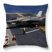 An F-35b Lightning II Makes A Vertical Throw Pillow