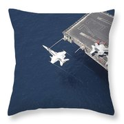 An Fa-18 Hornet Flys Over Aircraft Throw Pillow