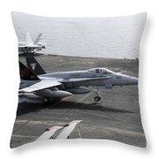 An Fa-18a+ Hornet Lands Aboard Throw Pillow