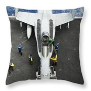 An Fa-18c Hornet Aircraft Throw Pillow