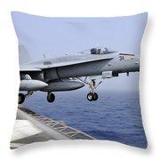 An Fa-18c Hornet Catapults Throw Pillow