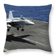 An Fa-18c Hornet Lands Aboard Throw Pillow