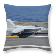 An Fa-18c Hornet Lands Aboard Uss Throw Pillow