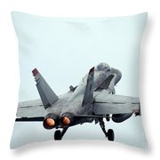 An Fa-18c Hornet Taking Off Throw Pillow
