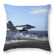 An Fa-18e Super Hornet Catapults Throw Pillow