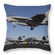An Fa-18e Super Hornet Comes In For An Throw Pillow