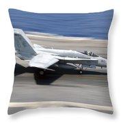 An Fa-18e Super Hornet Lands Aboard Uss Throw Pillow