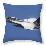 An Fa-18f Super Hornet In Flight Throw Pillow