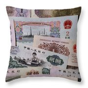 An Image Of Chinas Colorful Paper Money Throw Pillow