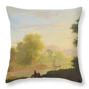 An Imaginary Coast Scene - With The Temple Of Venus At Baiae Throw Pillow