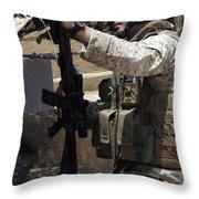 An Infantryman Talks To His Marines Throw Pillow