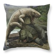 An Inostrancevia Attacks A Scutosaurus Throw Pillow