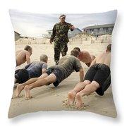 An Instructor Observes Recruits Throw Pillow