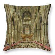 An Interior View Of Westminster Abbey On The Commemoration Of Handel's Centenary Throw Pillow