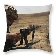 An Iraqi Army Soldier Prepares To Fire Throw Pillow