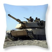 An M1a1 Main Battle Tank Throw Pillow