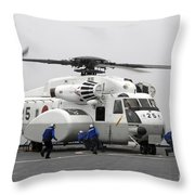 An Mh-53e Super Stallion Helicopter Throw Pillow