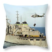 An Mh-60s Knighthawk Lifts Cargo Throw Pillow