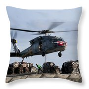 An Mh-60s Sea Hawk Lifts Cargo Throw Pillow