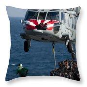 An Mh-60s Sea Hawk Picks Up Pallets Throw Pillow