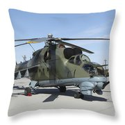 An Mi-24 Hind Helicopter Throw Pillow