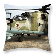 An Mi-24 Russian Helicopter Throw Pillow