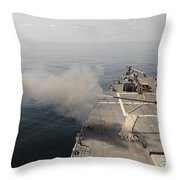 An Mk-45 Lightweight Gun Is Fired Throw Pillow