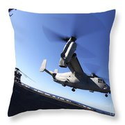 An Mv-22 Osprey Lands Aboard The Uss Throw Pillow