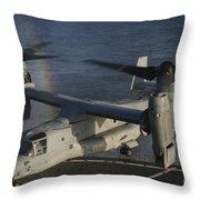 An Mv-22 Osprey Prepares To Land Aboard Throw Pillow