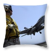 An Officer Observes An Fa-18f Super Throw Pillow