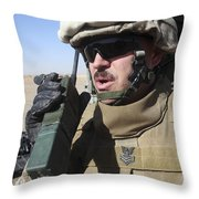 An Officer Relays Commands Throw Pillow