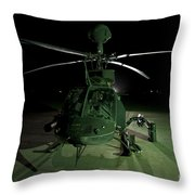 An Oh-58d Kiowa Helicopter At Cob Throw Pillow