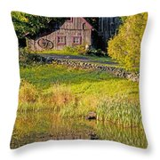 An Old Barn Reflected In The Pond Water Throw Pillow