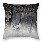 An Old Cemetery With Grave Stones And Fog Throw Pillow