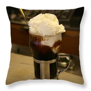 An Old-fashioned Ice Cream Soda Awaits Throw Pillow