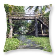 An Old Stone Bridge Over A Canal In Alleppey Throw Pillow