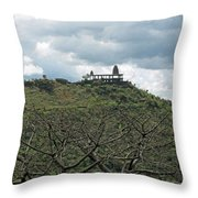 An Old Temple Building On Top Of A Hill With A Lot Of Clouds In The Sky Throw Pillow