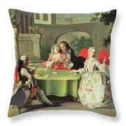 An Ornamental Garden With Elegant Figures Seated Around A Card Table Throw Pillow