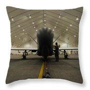 An Rq-4 Global Hawk Unmanned Aerial Throw Pillow