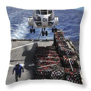 An Sa-330j Puma Helicopter Picking Throw Pillow