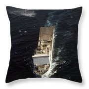 An Sh-60 Sea Hawk Approaches The Royal Throw Pillow