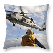 An Sh-60b Sea Hawk Helicopter Releases Throw Pillow