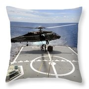 An Sh-60f Sea Hawk Helicopter Lowers Throw Pillow