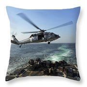 An Sh-60r Sea Hawk Delivers Pallets Throw Pillow